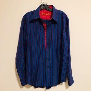 Robert Graham Striped Navy Dress Shirt